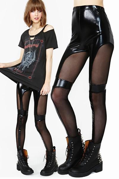 2014 New Women Sexy Vinyl Leather Punk Gothic Wetlook Leggings pants leather mesh inserts across DFG052(China (Mainland))