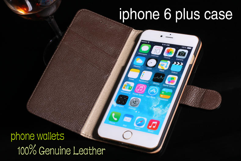apple iphone 6 plus 5.5 inch Genuine leather case flip business phone wallet iphone6 cover Free Gift - Shenzhen SUK Trading Co., Ltd store