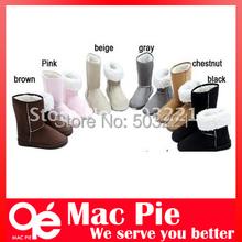 Invierno Espesan Felpa Corta Botas de Nieve Zapatos Para Mujeres color Negro Café Gris Beige Marrón Rosa(China (Mainland))