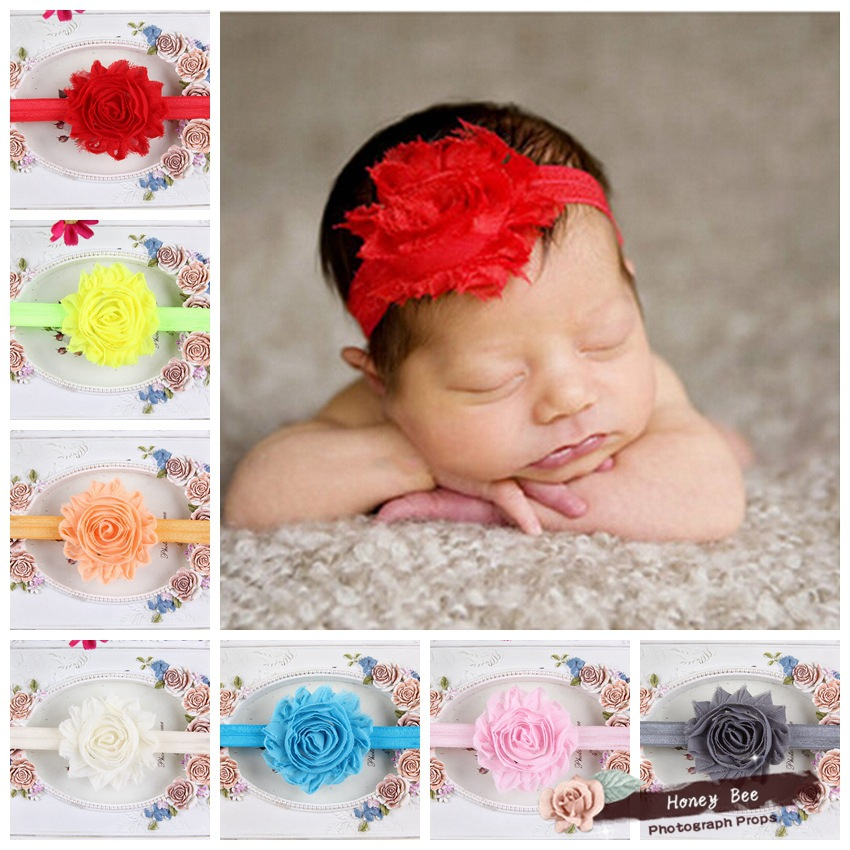 Children with Shabby in foreign trade and America old flash gauze flower children hair band Baby Headband with 12 color j037(China (Mainland))