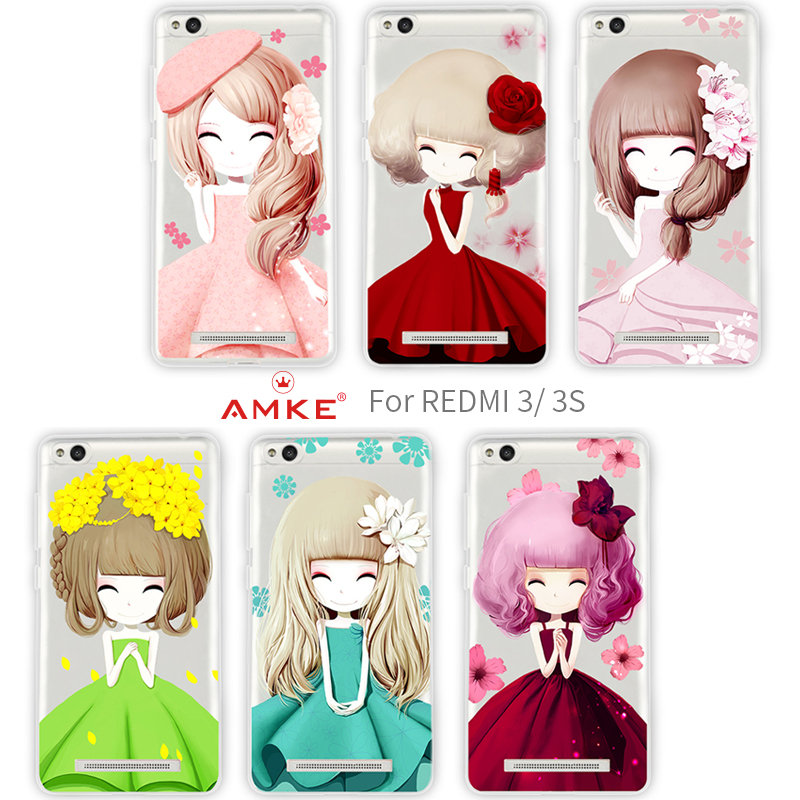 AMKE cellphone case for xiaomi redmi 3/3s with Transparent TPU material.six covers and lanyard.anti-knock cover for xiaomi(China (Mainland))