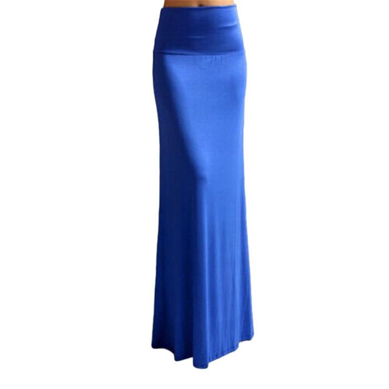 stylish 2015 Summer Women Elastic Pure Color Long Skirt Sexy Package Hip Beach Skirt Half Body Skirt Girl Dance Skirt(China (Mainland))