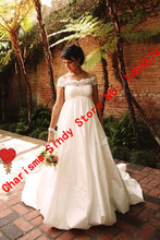 Free Shipping Romantic Pregnant wedding Dresses 2015 Vestido de noiva manga longa Long Elegant Customized Handmade Bridal Gowns(China (Mainland))