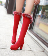 Elegante de la alta calidad mujer Nubuck punta redonda bloque plataforma del alto talón hasta la rodilla botas de invierno 2015 botas de nieve de zapatos más Sz(China (Mainland))