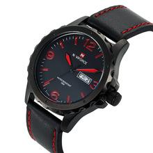 Hombre del ejército militar reloj del deporte del Relogio Masculino Naviforce marca de cuero resistente al agua fecha horas reloj de cuarzo relojes