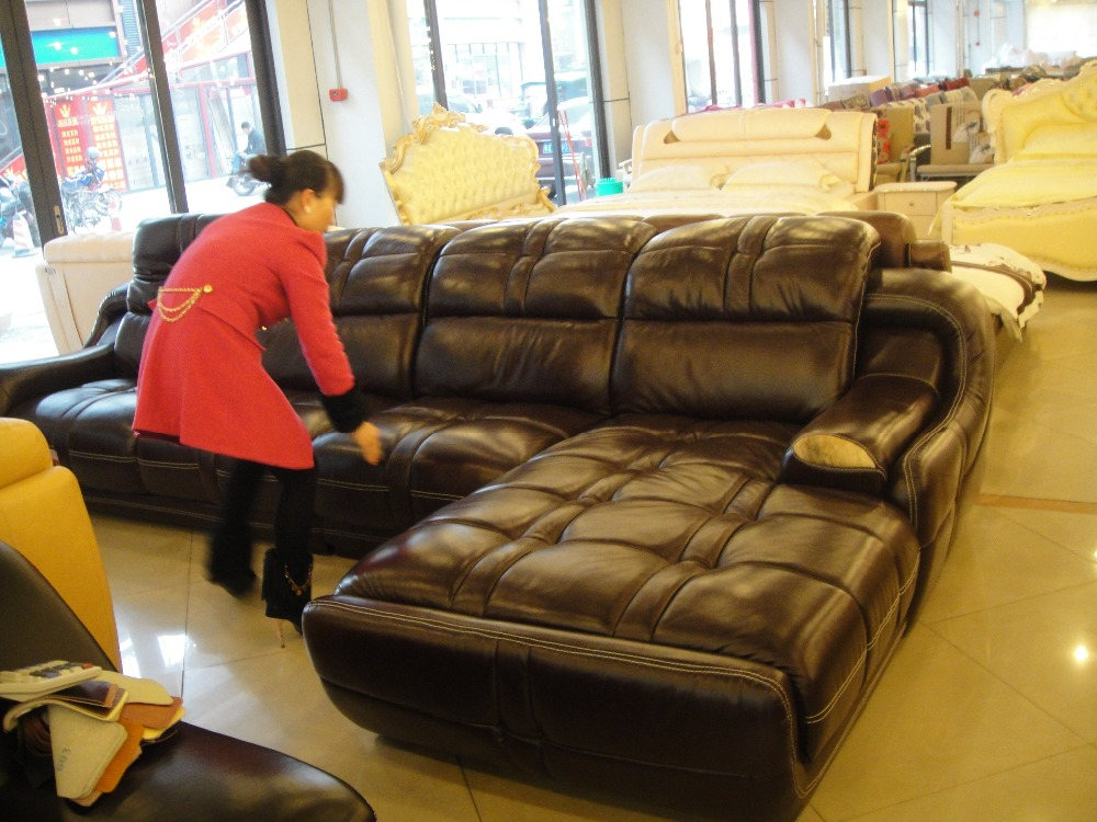 top graded cow leather sofa / living room sofa modern design sectional hot sale 9017 sofa+single chair+ chaise(China (Mainland))