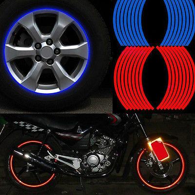 New 16 Strips Wheel Sticker Reflective Rim Stripe Tape Bike Motorcycle Car Tape(China (Mainland))