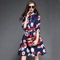 Vintage short party dress with sashes 2015 autumn new Floral Print dress Plus Size woman clothes