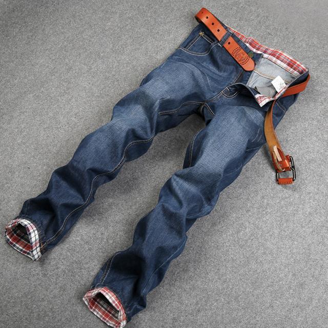 Мода уличный стиль высокое качество мужчины джинсы классические хлопковые джинсы ...