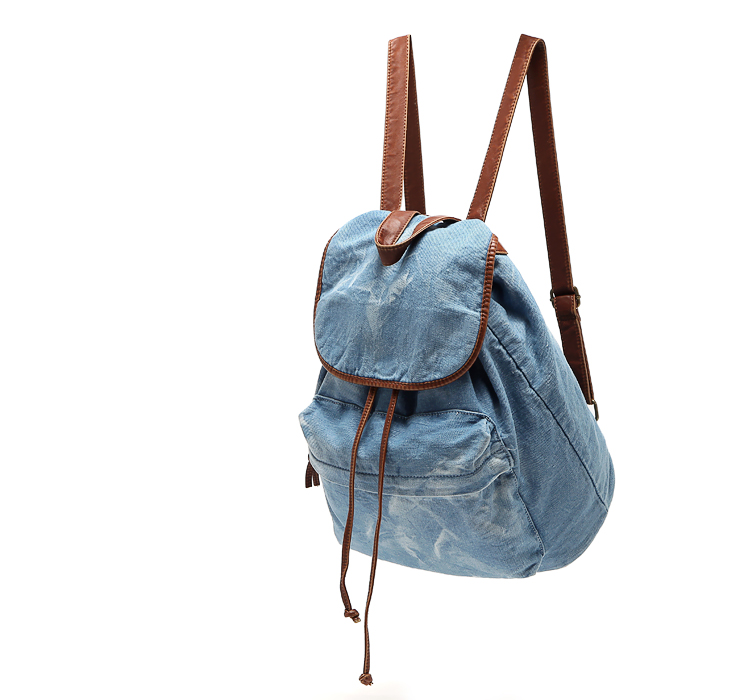 2014 new fashion Vintage backpack water wash denim soft canvas backpack women's backpack school bags free shipping(China (Mainland))