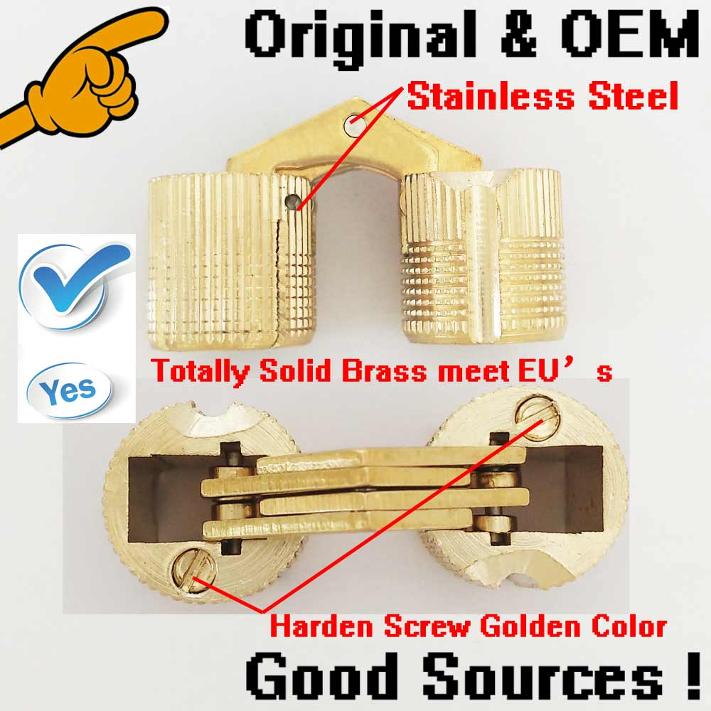 12mm hinge 1000pcs/lot Golden color copper brass dig hole Insert type hinge 180 degree open close hinge(China (Mainland))