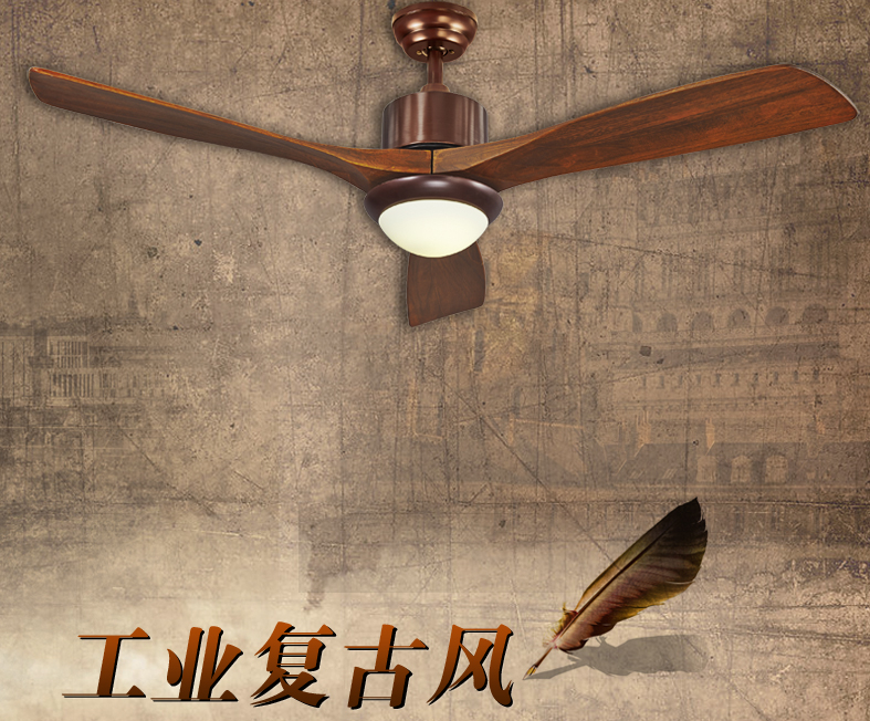 American rustic living room ceiling fan lights 56inch LED industrial Fan light solid wood door leaf dining room ceiling fans(China (Mainland))