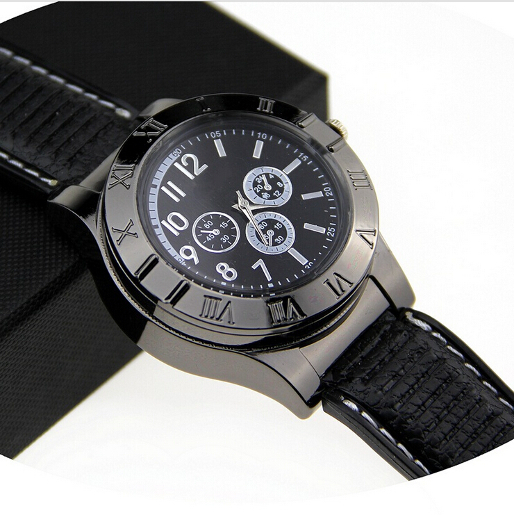 USB Charge Windproof Electronic Flameless Cigar Cigarette Sports Wrist Watch Portable Rechargeable Men Watches Lighter