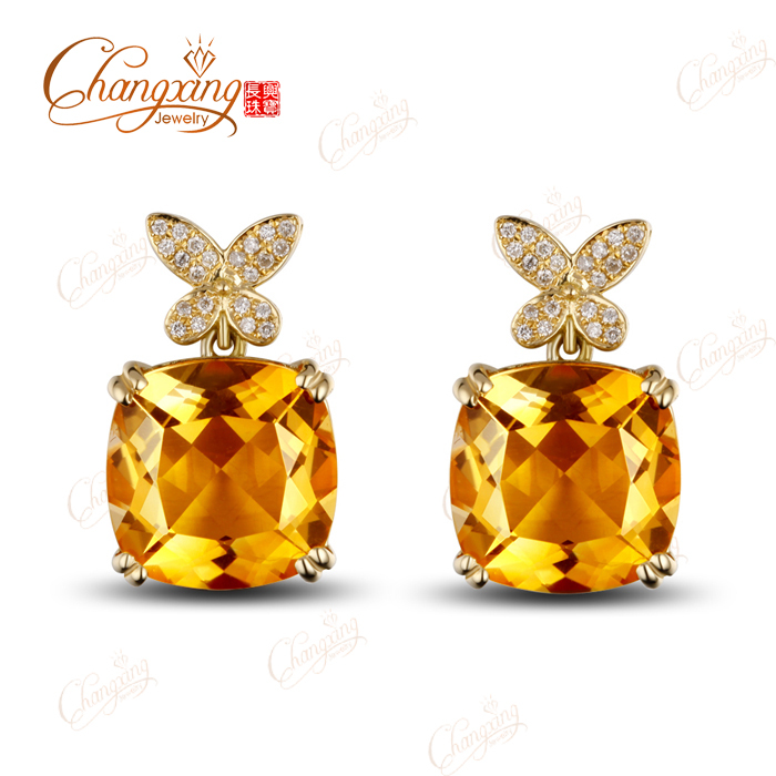 15.78ct 14K Yellow Gold Flawless Yellow Citrine Diamond Engagement Drop Earrings<br>