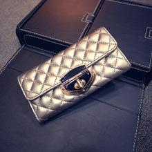 2016 Brand Design Fashion golden Leather Wallet Women phone Purse Female Clutch Wallets Ladies Long Carteira Feminina handbag