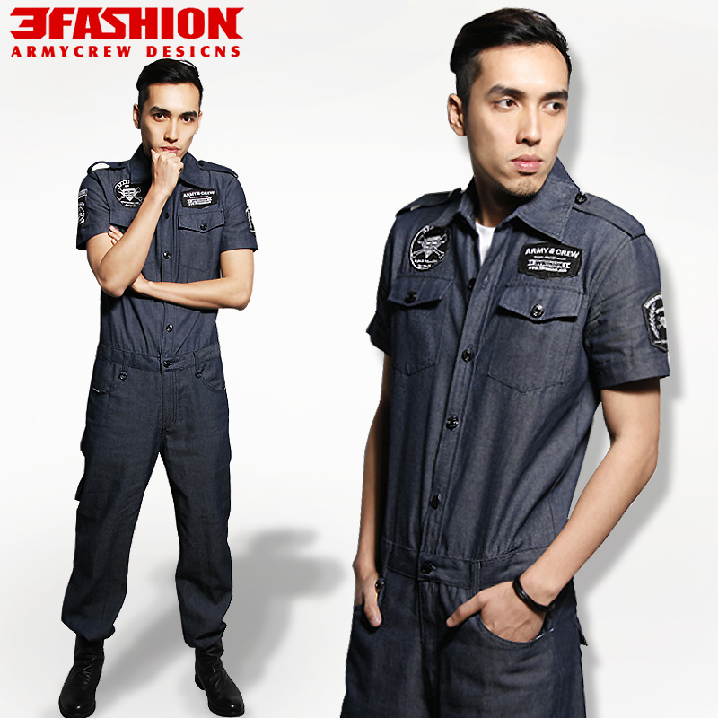 2013 spring and summer male short-sleeve one piece denim frock jumpsuit trend of work wear customize military clothesОдежда и ак�е��уары<br><br><br>Aliexpress