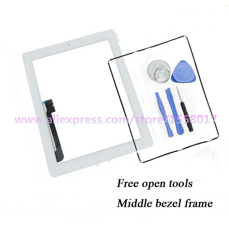 Гаджет  Digitizer Touch Screen Pannel for  iPad 3  with middle bezel frame Home Button & 3M Adhesive Glue Sticker  None Компьютер & сеть