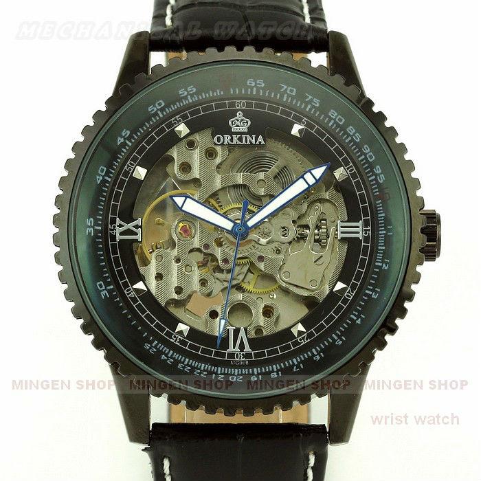 MINGEN SHOP - Luxury Men Dress Leather Skeleton Automatic mechanical Suit Cuff watch U346(China (Mainland))