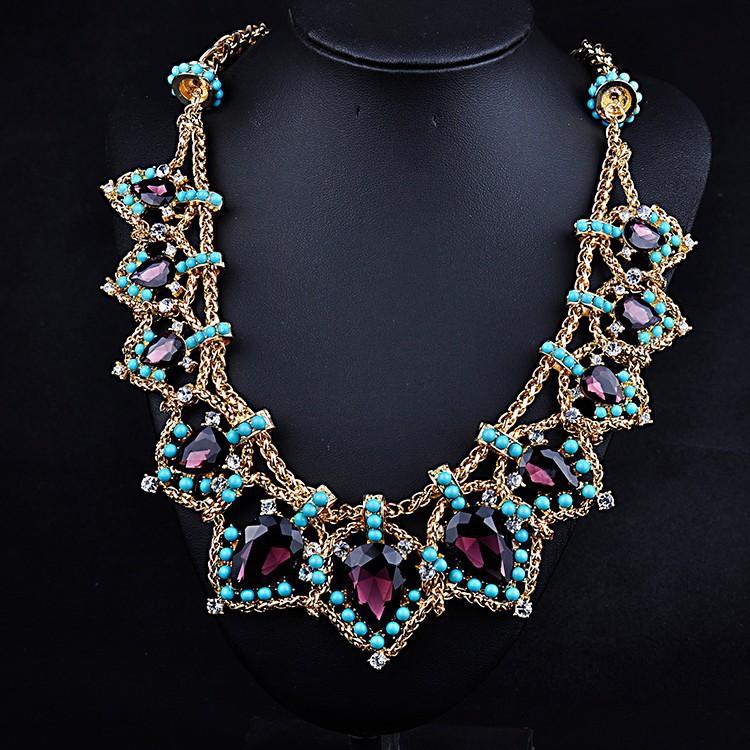 2015 high quality za fashion chain Trendy Bib Statement chunky choker acrylic Necklaces Pendants for women jewelry