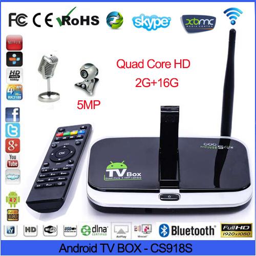 CS918S Andriod 4.4 Smart TV Box A31 Quad Core 2GB RAM 16GB ROM Built in 5.0MP Camera XBMC Bluetooth 3G 4K WIFI arabic iptv box(China (Mainland))