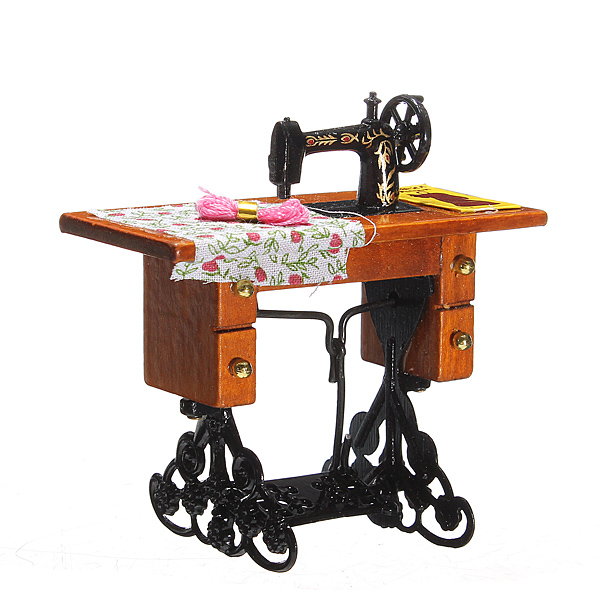 1:12 Pretend Toy Vintage Miniature Sewing Machine Furniture Toys for Barbie Doll House Decor Retro Children Toys Accessories<br><br>Aliexpress