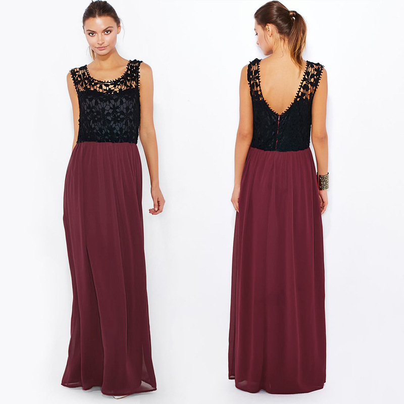 2015 High Quality Women Summer Sexy Backless Wine Red Lace Dresses Plus Size Women Clothing Floor Length Long Chiffon Maxi Dress(China (Mainland))