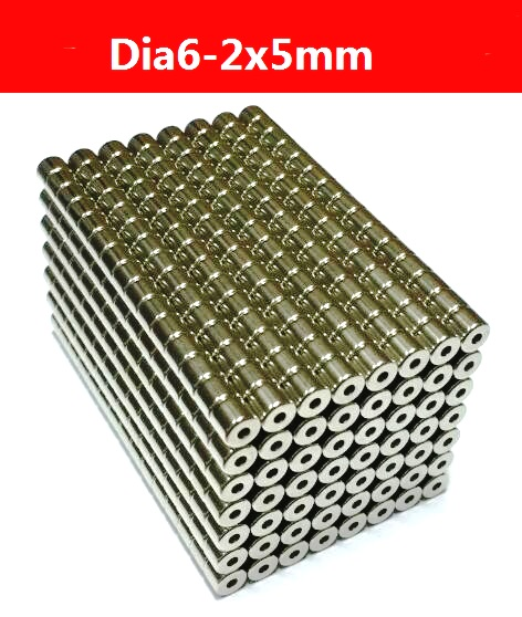 50pcs Dia6-dia2x5mm hole 2mm Small Round NdFeB Neodymium Ring Magnets N50 Super Powerful Strong Rare Earth NdFeB Magnet(China (Mainland))