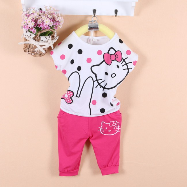 EMS/DHL Free Shipping Hot!Summer 2014 New Arrival!Summer Lovely Hellokitty  Suit For Children<br><br>Aliexpress