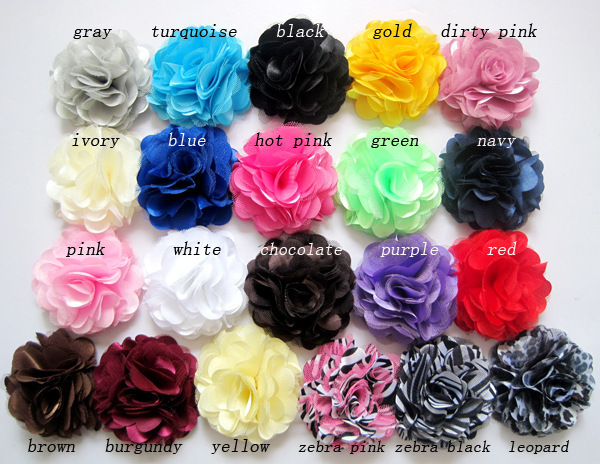"""Hot Selling 3"""" Satin Mesh Silk Flowers without hair clip Accessories Felt flowers Corsage 50pcs/lot Free Shipping(China (Mainland))"""
