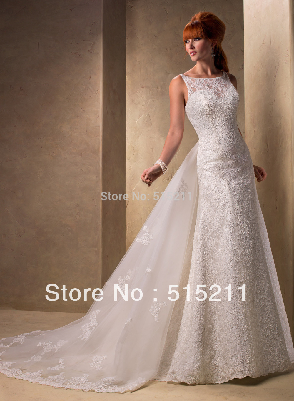 Custom made vintage lace open back mermaid wedding dress for Mermaid wedding dress with detachable train