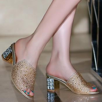 Большой размер : 34-43, 2014 новинка досуг стразы квадратные каблуки женщины сандалии ...
