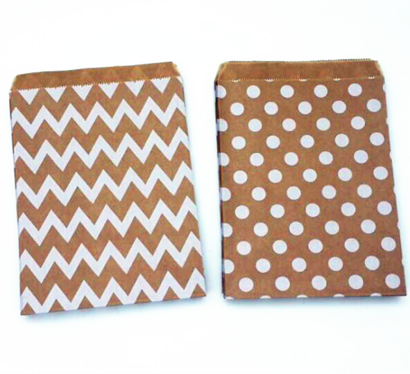 "New Kraft series Chevron/Dots Favor Bags, Bitty bag, Party Food Paper Bag 5""x7"" (13x18cm)(China (Mainland))"