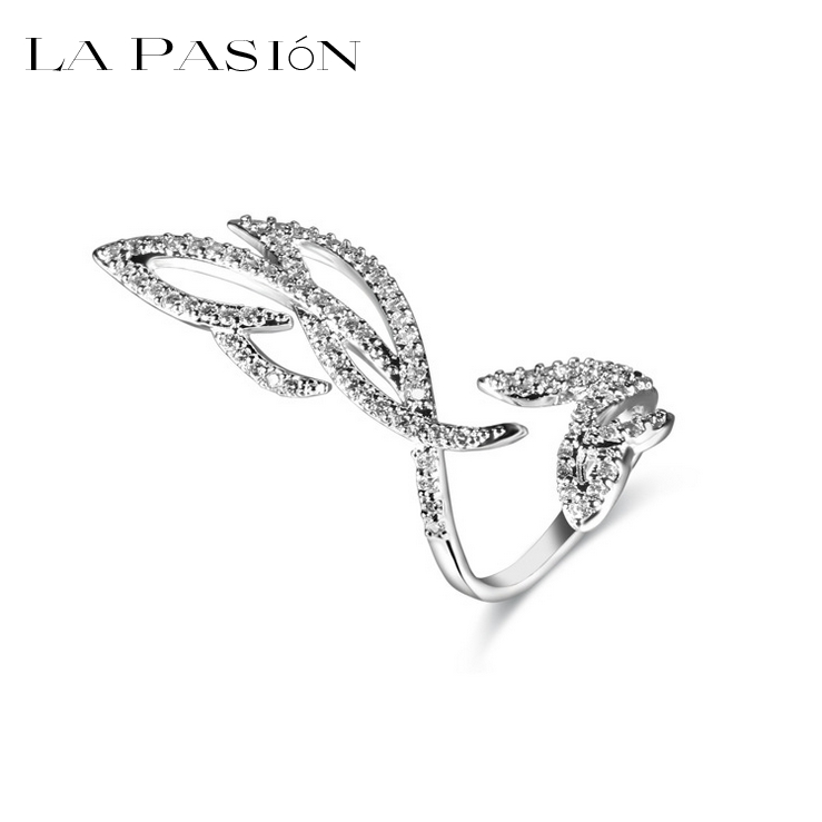 La Pasion Brand Feather Special design opening Finger nail ring paved tiny AAA Swiss CZ stone for lady(China (Mainland))