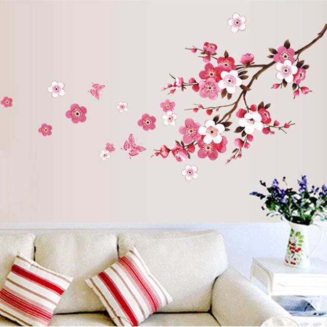Съемный пвх современный цветок персика бабочка домашнего декора искусство свадебный номер девушки номер наклейки стены термоаппликации плакат
