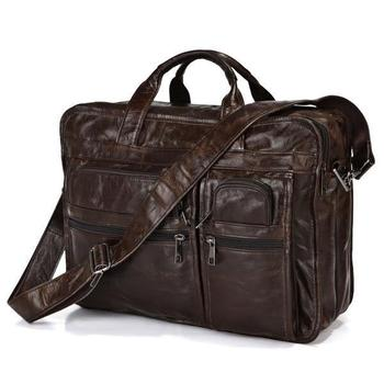 "Vintage Real Genuine Leather Briefcase Business Portfolio Cowhide Men messenger bags Shoulder Bag 15.6"" Laptop Bag #VP-J7093"