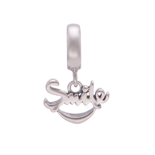 S925 стерлингового серебра Jewerly Floatiing улыбка мотаться бусины DIY выводы ввбр женщины подходит пандора Chamilia подвески браслеты