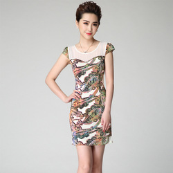 2015 Summer Fashion Unique Print Beading decoration Illusion O-neck Slim Waist Pencil Dress Cap Sleeve Stretch Short Dresses