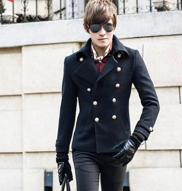 Green red blue thicken warm men's wool coats stand collar mens winter coat slim fit overcoat manteau homme casaco masculino(China (Mainland))