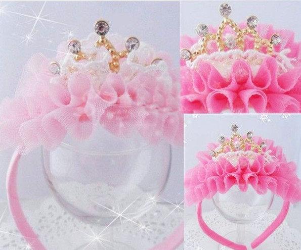 New Kids/Girl/Princess/Baby Pink Velvet Crown Pearl Stone Ribbon HeadBand/Hair Accessories