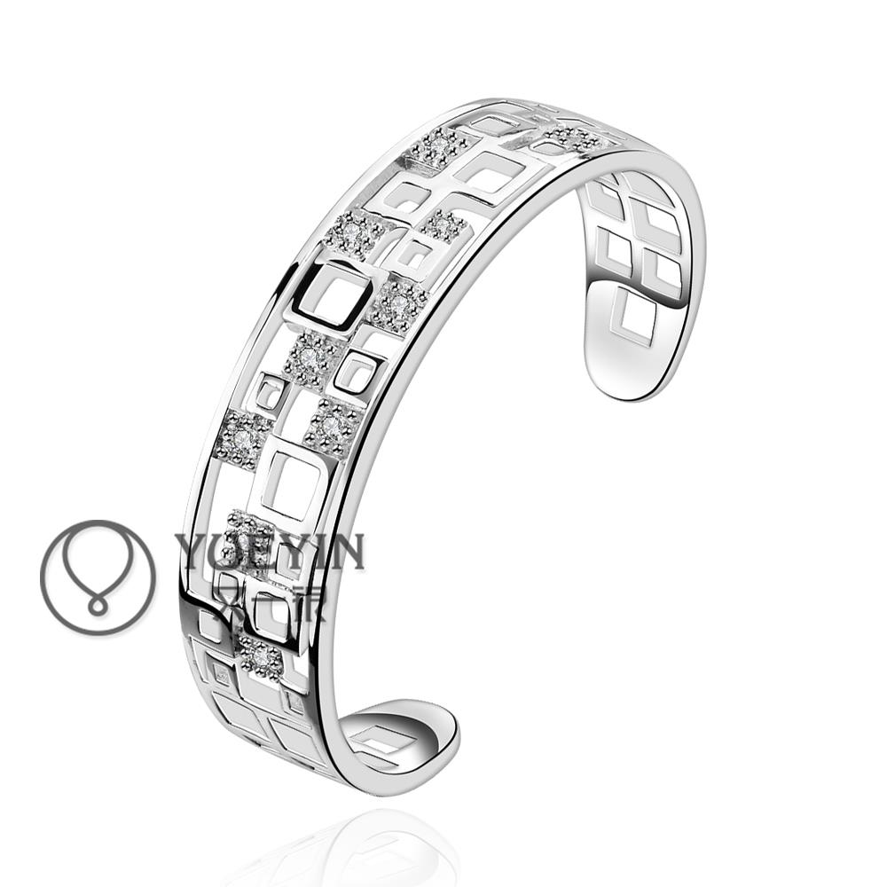 fashion silver bangles High quality hollow carved Rhinestone geometric cube Zircon bangles Jewelry for women's wedding B221(China (Mainland))