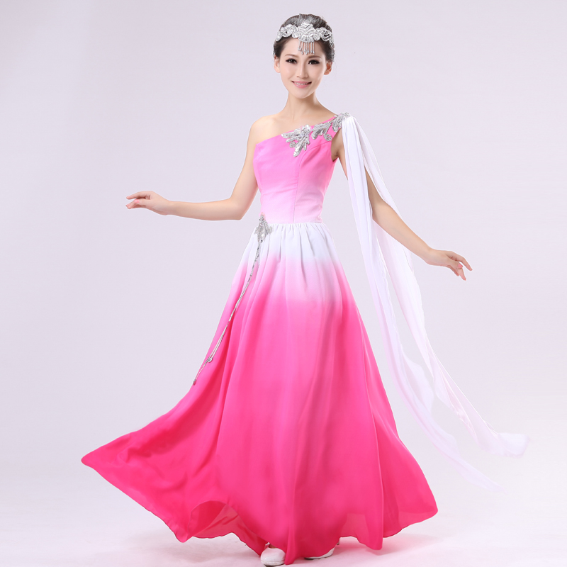 Chinese folk dance fairy stage performance costumes group dance clothing pink color gradient ...