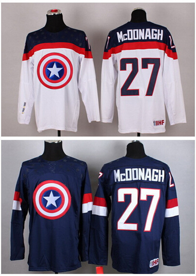 2015 Men's Ryan Mcdonagh IIHF hockey Team USA Captain American Hockey Jersey Dustin Brown jersey stitched cheap for Wholesale