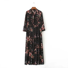 Buy Fashion Women Vintage Flowers printing Slim Dresses Work Casual Elegant Three Quarter sleeve Dress Womens Clothing D 682 for $18.80 in AliExpress store