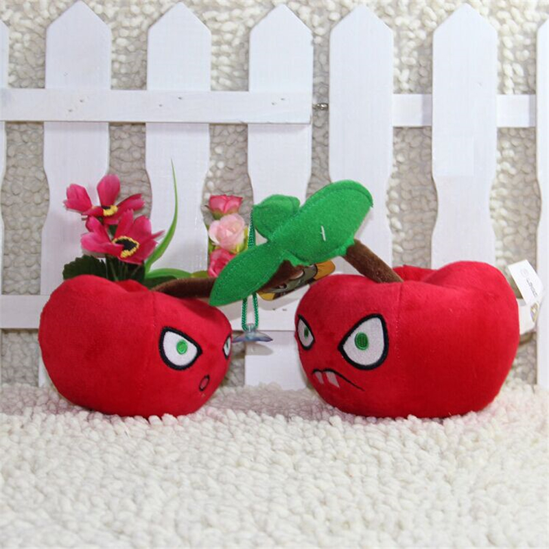 Hot sale 14CM (Cherry Bomb) Plants vs zombies doll plush toy Doll Top games Baby Toy for Children Gifts toys(China (Mainland))