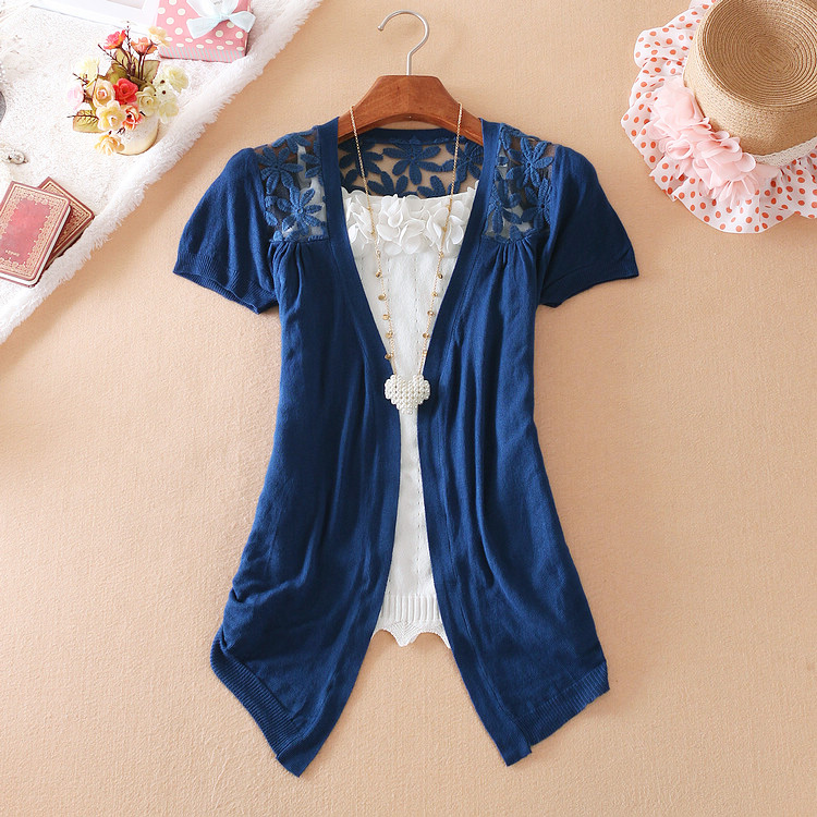 Spring summer new thin hollow adjustable sweater cardigan slim lace long sleeved Sweater Knit Shawl sunscreen women coat(China (Mainland))