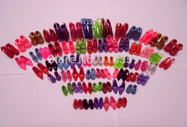 Hot Sale 60 Pairs/set Fashion Heels Sandals Doll Shoes For Barbie Dolls Outfit Dress(China (Mainland))