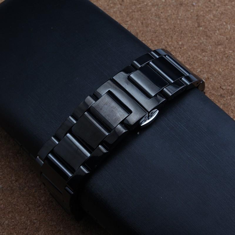 Черный Металл Ремешок Для Часов Водонепроницаемый Дайверов Ремешок Band18MM 19 ММ 20 мм 21 ММ 22 ММ 24 ММ Для бренда мужчины часы общий прямой конец