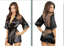 2014 Fashion Hot Sexy Lingerie Satin Lace  Kimono Intimate Sleepwear Robe Sexy Night Gown 3 fashion colors Free Shipping(China (Mainland))