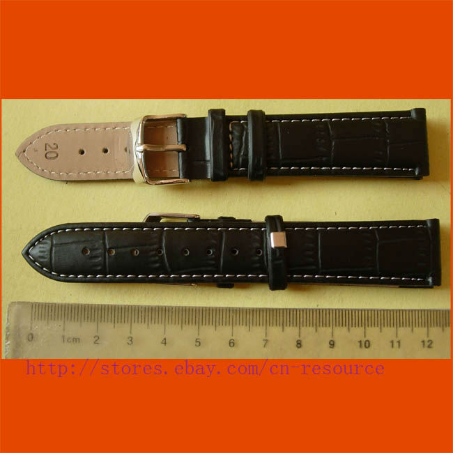 1 x 20 mm GENUINE COW LEATHER watch band black 03