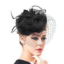 Women Chic Fascinator Hat Cocktail Wedding Party Church Headpiece Fashion Headwear Fancy Feather Hair Accessories 2016 New F1802(China (Mainland))